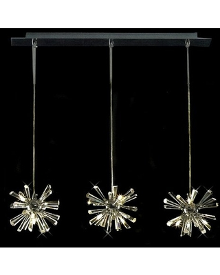 Limited Edition Polished Chrome 12 Light Pendant with Clear Crystal Accent