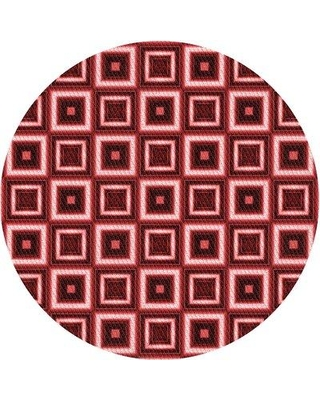 East Urban Home Geometric Wool Red Area Rug W001097974 Rug Size: Round 5'