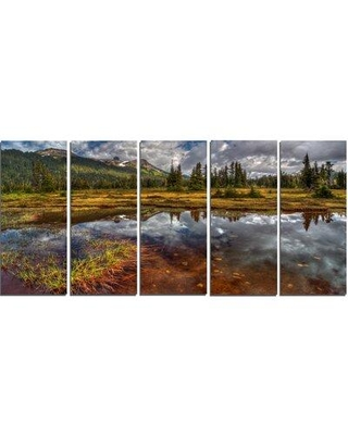 Design Art 'Clear Lake Mirroring Cloudy Skies' 5 Piece Photographic Print on Wrapped Canvas Set PT14422-401