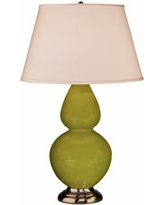 """Robert Abbey 31"""" Apple Green Ceramic and Silver Table Lamp"""