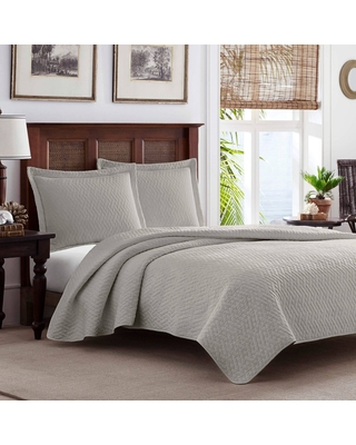 Full/Queen Solid Pelican Quilt & Sham Set Gray - Tommy Bahama