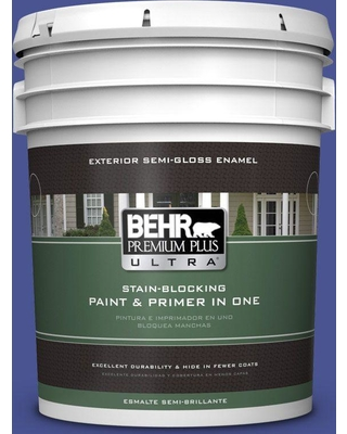 BEHR Premium Plus Ultra 5 gal. #P540-7 Canyon Iris Semi-Gloss Enamel Exterior Paint and Primer in One