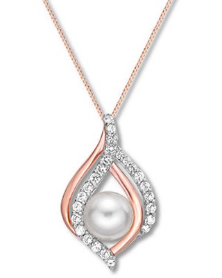 23cae7ffc Shopping Special: Cultured Pearl/Lab-Created White Sapphire Necklace ...