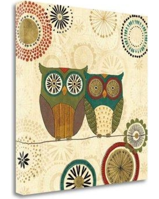 """Tangletown Fine Art 'Spice Road Owls II' by Veronique Charron Graphic Art on Wrapped Canvas WA620254-1818c Size: 20"""" H x 20"""" W"""