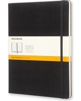 "Moleskine Notebook, Hard Cover, College Ruled, 192 sheets, 7.5"" x 9.75"" - Black"