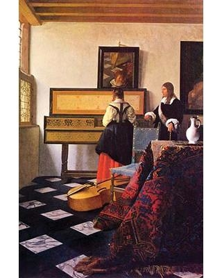 Buyenlarge 'The Music Lesson' by Johannes Vermeer Painting Print 0-587-26350-4