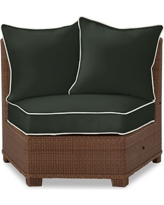 Palmetto Rounded Armless Sectional Cushion Slipcover, Sunbrella(R) Contrast Piped; Black