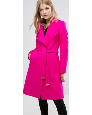 e3875ef23 Amazing Deal on Ted Baker Long Wrap Coat - Pink