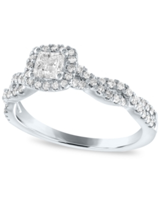 Diamond Princess Halo Engagement Ring (5/8 ct. t.w.) in 14k White Gold