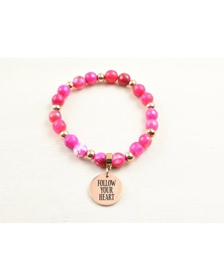 Genuine Agate Inspirational Bracelet - Pink - Follow Your Heart