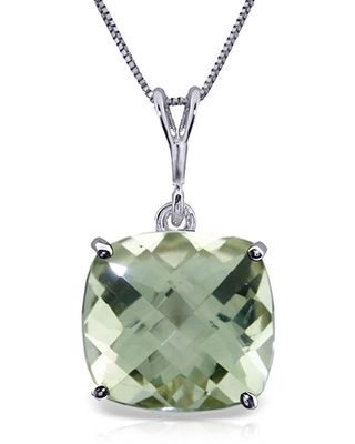 3.6 CTW 14K Solid White Gold Necklace Natural Checkerboard Cut Green Amethyst