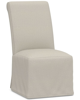 PB Comfort Roll Long Slipcovered Dining Side Chair, Espresso Frame, Performance Heathered Tweed Pebble