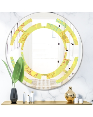 Designart 'Retro Handdrawn Flowers On Green Background' Modern Round or Oval Wall Mirror - Space (Round - 24 in. wide x 24 in. high)