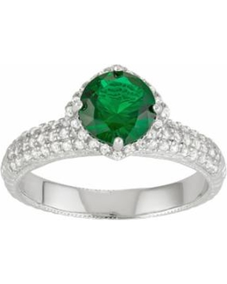 Sterling Silver Simulated Emerald & Lab-Created White Sapphire Halo Ring, Women's, Size: 7, Green