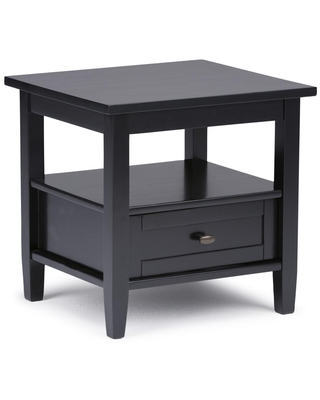 Brooklyn + Max Lexington Black Solid Wood 20 in. Wide Rectangle Rustic End Side Table