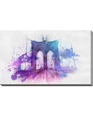 """Picture Perfect International 'Brooklyn Bridge' Graphic Art on Wrapped Canvas 704-3894 Size: 24"""" H x 40"""" W x 1"""" D"""