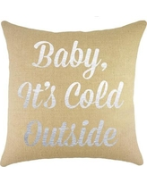 TheWatsonShop Baby It's Cold Outside Burlap Throw Pillow SBBEIBABYCOLDOUTMETSIL