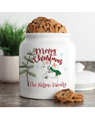 Personalized Merry Christmas Snowman Family Cookie Jar