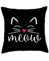 Cute Cat Funny Gifts Meow Cute Face Funny Costume for Cat Lovers Throw Pillow, 18x18, Multicolor