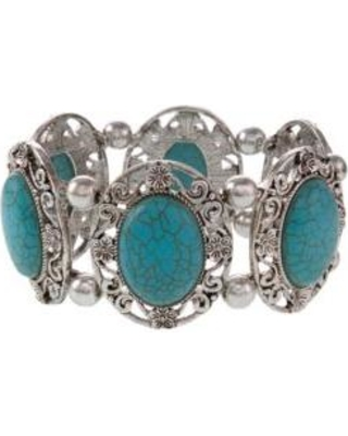Erica Lyons Turquoise Silver-Tone Turquoise Stretch Bracelet