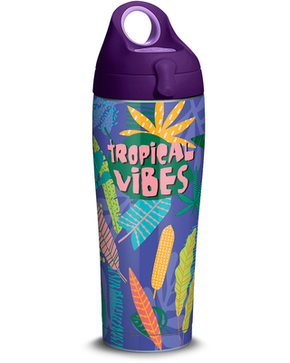 Tropical Vibes 24oz Stainless Steel Water Bottle with lid