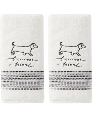 100% Cotton Fur Ever Friends Hand Towel in White (2-Pack)