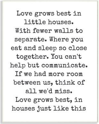 """Stupell Industries 'Love Grows Best in Little Houses' Textual Art mwp-310_fr_11x14 Size: 15"""" H x 10"""" W Format: Plaque"""