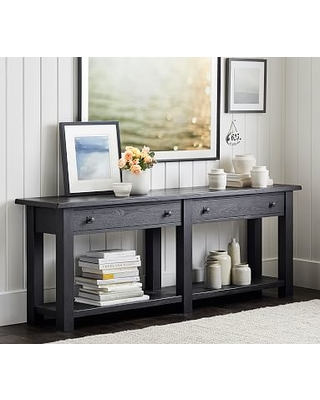 Benchwright Grand Console Table, Rustic Mahogany