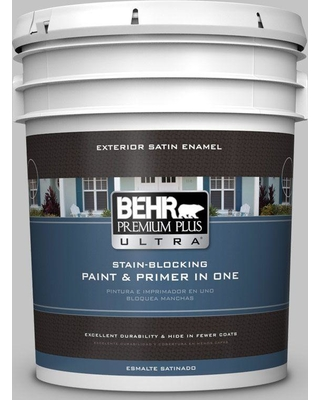 BEHR ULTRA 5 gal. #N520-2 Silver Bullet Satin Enamel Exterior Paint and Primer in One