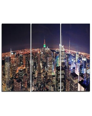 Design Art NYC Manhattan Aerial View - 3 Piece Graphic Art on Wrapped Canvas Set PT8615-3P