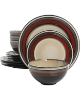 Gibson Elite Everston 12 Piece Dinnerware Set, Red and Cream, Reactive Glaze Stoneware
