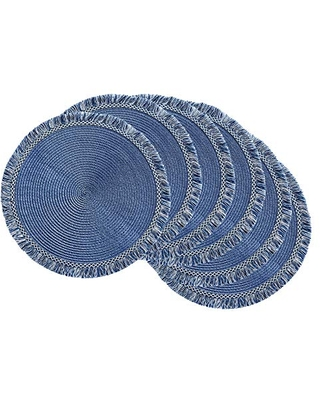 """DII Round Fringed Woven Placemat Set, Use for Everyday Family Meals or Special Occasions, 14.75"""", Nautical Blue 6 Count"""