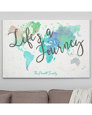 Personalized 28x42 World Map Canvas Print