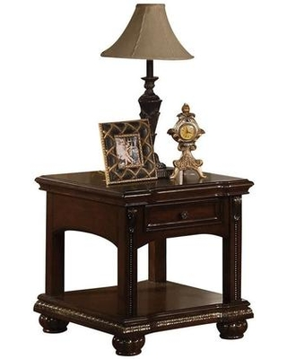 """Anondale Collection 10323 28"""" End Table with 1 Drawer Bottom Shelf Metal Hardware Pumpkin Bun Leg Poplar Wood and Cherry Veneer Materials in"""