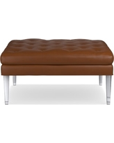 Lucite Ottoman, Square, Tuscan Leather, Solid, Bourbon