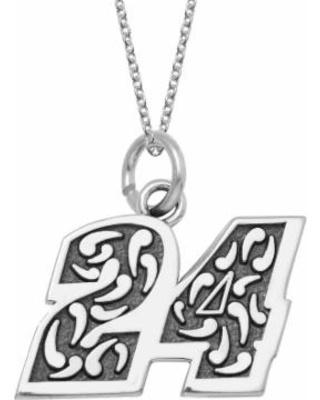 """Insignia Collection Nascar Jeff Gordon """"24"""" Stainless Steel Pendant Necklace, Women's, Size: 18"""", Grey"""