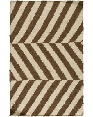Deals For Litchfield Geometric Handwoven Wool Ivory Brown Area Rug George Oliver Rug Size Rectangle 5 X 8