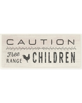"""Stupell Industries 7 in. x 17 in. """"Caution Free Range Children"""" by Tammy Apple Printed Wood Wall Art, Multi-Colored"""