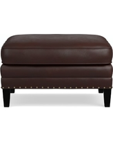Addison Ottoman, Down Blend Cushion, Tuscan Leather, Solid, Chocolate