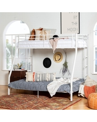 New Deal On Taylor Olive Abner White Metal Bunk Bed Twin Over Full White