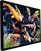 """ArtWall 'Koi' by George Zucconi Framed Painting Print on Wrapped Canvas 0zuc005a Size: 8"""" H x 10"""" W"""