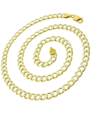 Authentic 14K Gold Italian Solid Sterling Silver 6mm Cuban Curb Diamond-Cut Link .925 ITProLux Two-Tone Yellow Necklace Chains (20 Inch)