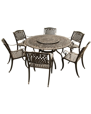 Lattice 59 in. Bronze Round Dining Set with Lazy Susan and Six Chairs
