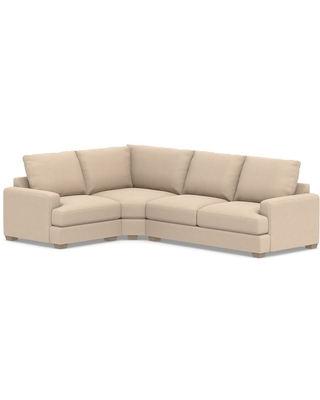Canyon Square Arm Upholstered Right Arm 3-Piece Wedge Sectional, Down Blend Wrapped Cushions, Performance Everydayvelvet(TM) Buckwheat