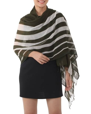 Handwoven Striped Cotton Shawl in Olive from Thailand