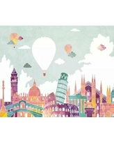"""Bloomsbury Market Anandaraja Historical Places and Hot Air Balloons Kids Wall Mural X112929945 Size: 106"""" L x 187"""" W"""