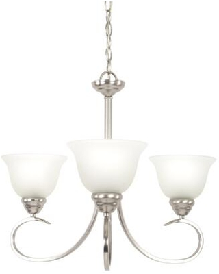 Ribbon Fall Collection 93433-3SN Three Light Chandelier in Satin