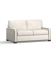 Turner Square Arm Upholstered Deluxe Sleeper Sofa with Bronze Nailheads, Polyester Wrapped Cushions, Denim Warm White