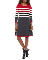 Jessica Howard 3/4 Sleeve Striped Sweater Dress, Small , Red
