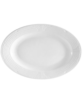 CAC China CRO-34 Corona 9-Inch by 6-1/4-Inch Super White Porcelain Oval Platter, Box of 24